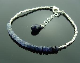 Shaded Blue Sapphire Sterling Silver Bracelet