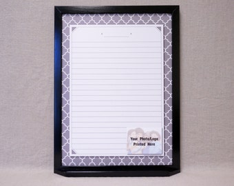 "Gray Quatrefoil Framed Message Board Whiteboard 24""x18"" - Personalized Gray/White Moroccan Tile Dry Erase Board - Memo Board - Note Board"