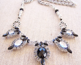 Black and silver rhinestone choker necklace, statement piece, costume jewelry
