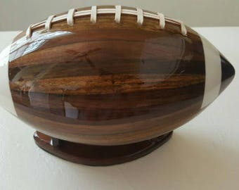 Customizable wooden football shaped BLANKS. Ready to add your very own unique logo.