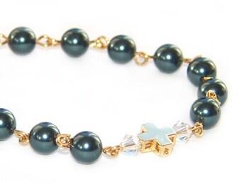 Christian Faith Bracelet, Gold Cross, Tahitian Blue Swarovski Pearls