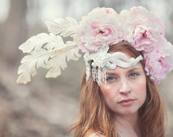Pink Peony Beaded Floral Headdress