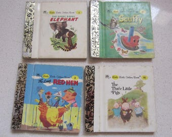 Set of 4 Little Little Golden Book 1980's Children's Classics Three Little Pigs, Little Red hen, Saggy Baggy Elephant, Scuffy the Tugboat