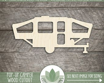 Pop Up Camper Cut Out Wood Shape, Unfinished Wood Camper Trailer Laser Cut Shape, DIY Craft Supply, Many Size Options, Blank Wood Shapes