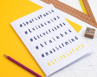 SMARTY PANTS NOTEBOOK Hashtag Clever Clogs Brain Box Stationery Gift Graduation Back to School Present Sketchbook Stocking Stuffer End Term
