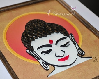 Buddha Wall Art with Paper Quilling, Buddhism, Housewarming, Buddha Home Decor Paper Quilled Buddha Art Wall Hanging Yoga Mothers Day