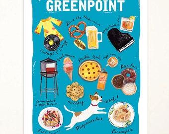 8x10 Greenpoint Brooklyn Art Print. Illustration. Brooklyn Art