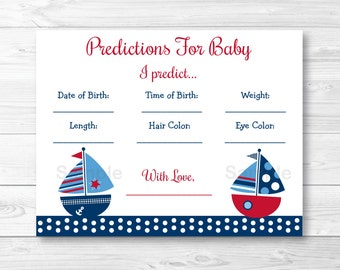 Sailboat Baby Predictions Game / Sailboat Baby Shower / Predictions For Baby / Birth Stats / INSTANT DOWNLOAD A384