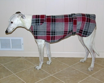 W29 Gray Red Plaid Greyhound Winter Coat.  Free Shipping!