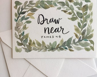 Draw Near - blank notecard, scripture stationery