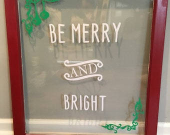Be Merry and Bright Wooden Window