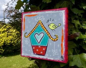 Painting child Bird House