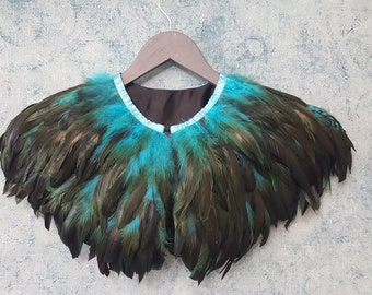 Teal and black feather shrug, steampunk cape, feathered capulet