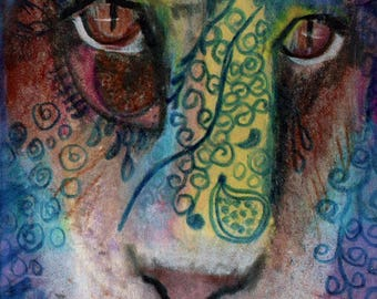 original art  aceo drawing lion face spirit animal zentangle