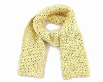 Children's Scarf, Organic Clothing, Organic Kids, Cotton Scarf, Kid's Scarf, Crochet Scarf, Summer Wrap, Light Scarf, Organic Cotton, Yellow