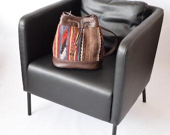 Bohemian Backpack -042  Ethnic Mochila Bag Big Size Bucket Bag Kilim Back Bag  Hippie bag  boho southwestern bag kilim drawstring  bag