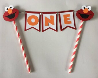 Elmo Party Cake Topper. . Great for birthday parties or baby showers. You pick name or age. Free Shipping. Cake Banner
