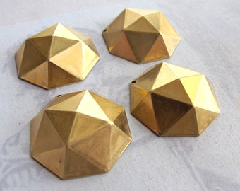 Brass Metal Round Faceted Stud Pendants (4X) (M695)