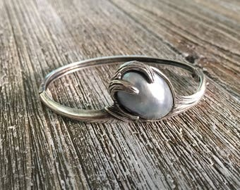Vintage Sterling Silver Cuff with Grey Osema Pearl