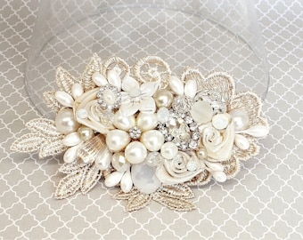 Champagne Hair Accessory- Bridal Hair Comb- Champagne Bridal Comb-Wedding Hair Comb- Bridal Hair Clip-Bridal Hairpiece-Bridal Hair Accessory