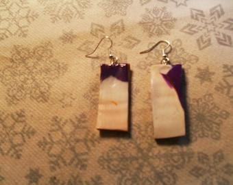 beautiful pair of earrings oreillesunique, stylish, original orange, purple and white