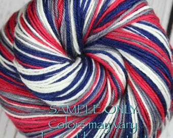 """Dyed to Order: Self striping sock yarn - """"BLUE-RED-GRAY-White"""" - Hand dyed - Football Baseball Sports School colors - New England - Columbus"""