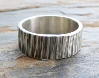 8mm Wide Tree Bark Wedding Band - Sterling Silver Wood Grain Ring -  Flat Rectangular Wide Band Men's Wedding Ring