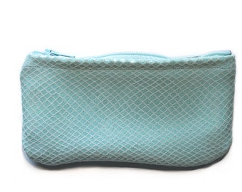 Teal Snakeskin Pouch