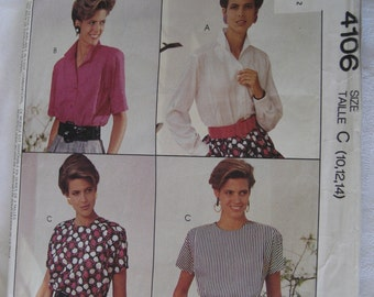VINTAGE 4106 McCalls Blouse Top Sewing Pattern