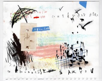 Beach - Original Mixed Media Illustration / Collage