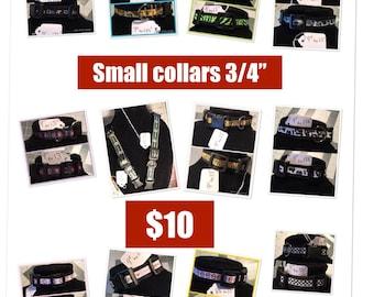 "Small dog collars - 3/4"" handmade"