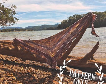 Knitting Pattern - the Appalachian Sunset Shawl - Triangle Scarf Wrap - DIY Beginner Tutorial - Eyelets Garter Stockinette