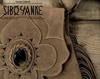 Leather boho bag whit LABRADORITE stone - Leather Crossbody - Boho bag - <Suede leather> Bohemian HANDMADE by Sibo Yanke. [model: AGORA]