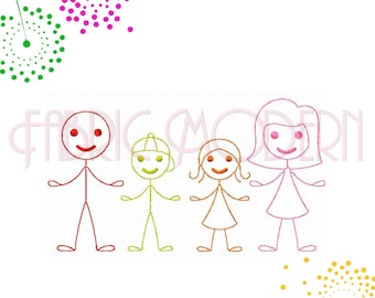 STICK FIGURES Embroidery Design Collection  Stick family  mom  dad  boy  girl 14 designs for 4x4 hoops