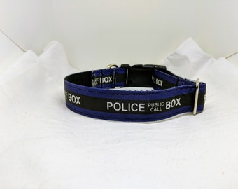Police Box - Custom Handmade Dog Collar, Dr Who, Whovian, TARDIS, Multiple Sizes