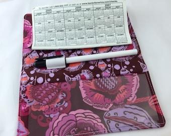 Purple Duplicate Checkbook Cover Register -  Duplicate Checkbook Reigster - Fabric Checkbook Cover Amy Butler  Coco Bloom in Plum Purple