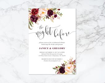 Printable Marsala Watercolor Floral Rehearsal Dinner Invitation
