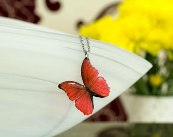 Blue morpho red butterfly necklace. Handmade jewellery. Looks like real butterfly.