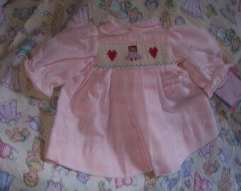 "Pale Pink Plaid Smocked Dress for 14"" Dolls"