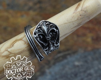 Fleur-de-lis Ring - Adjustable - Wrap Style - Handcrafted by Doctor Gus - Beautiful Antique Inspired Ring