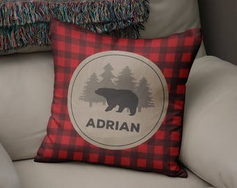 Bear Throw Pillow Cover - Customized Twill Pillowcase - Red Plaid - Personalized with Name - COVER only