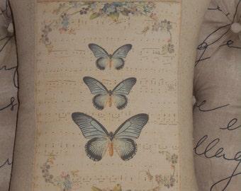 Blue Buterflies Music Notes Pillow Cover Throw Pillow