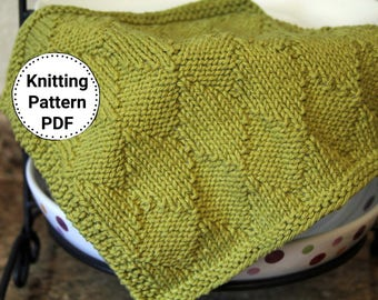 Knitting Pattern | Dishcloth Pattern | Knitted Dishcloth | Knit Pattern | Diamonds are a Girls Best Friend