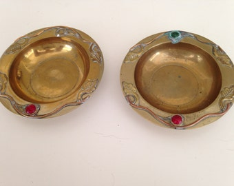Vintage heavy brass dishes with copper and stone detail