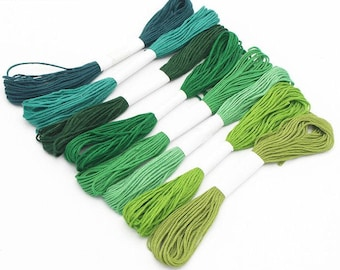 8Pk Embroidery Thread Green Cotton Floss Woven Friendship Bracelets Doll Clothes Cross Stitch Needlepoint Embroidery Sewing Quilting Weaving