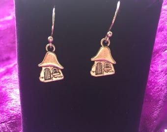 Toadstool fairy home earrings
