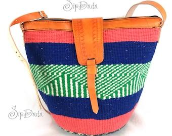 Kiondo, Leather bag, sisal bag, woven bag, black bag, African bag, Kenyan bag, sling bag, cross body bag, bag, leather purse, African purse