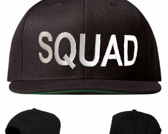 squad hat, squad snapback, squad embroidered