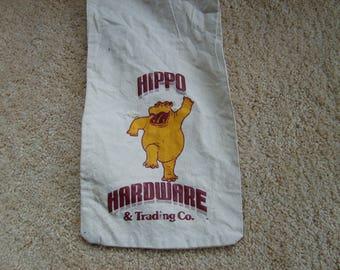 Bank Bag, Vintage Money Bag, Hippo Hardware, Canvas Bank Bag