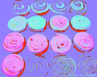 Dessert Art, Cupcake Photo, Photography, Food Photography, Kitchen Art, Kitchen Decor, Purple Pink